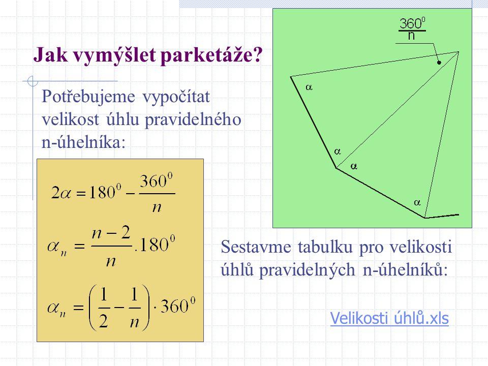 Jak vymýšlet parketáže? Potřebujeme vypočítat velikost úhlu pravidelného n-úhelníka: Sestavme tabulku pro velikosti úhlů pravidelných n-úhelníků: Veli