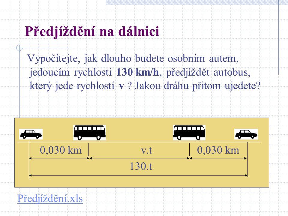 Předjíždění na dálnici Vypočítejte, jak dlouho budete osobním autem, jedoucím rychlostí 130 km/h, předjíždět autobus, který jede rychlostí v ? Jakou d