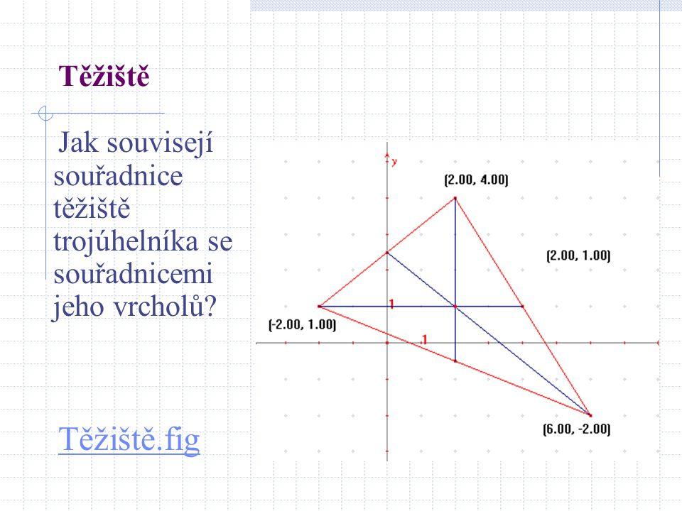 Těžiště Jak souvisejí souřadnice těžiště trojúhelníka se souřadnicemi jeho vrcholů? Těžiště.fig