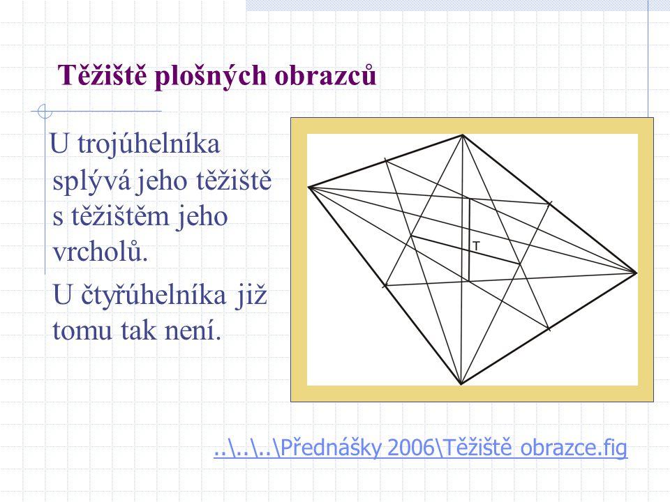 Těžiště plošných obrazců U trojúhelníka splývá jeho těžiště s těžištěm jeho vrcholů. U čtyřúhelníka již tomu tak není...\..\..\Přednášky 2006\Těžiště