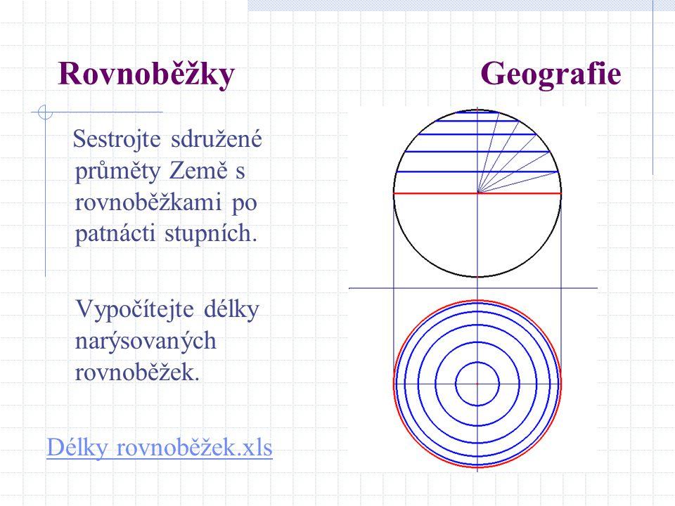 Rovnoběžky Geografie Sestrojte sdružené průměty Země s rovnoběžkami po patnácti stupních. Vypočítejte délky narýsovaných rovnoběžek. Délky rovnoběžek.