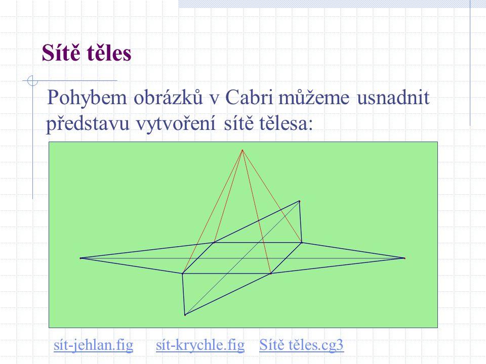 Sítě těles Pohybem obrázků v Cabri můžeme usnadnit představu vytvoření sítě tělesa: sít-jehlan.figsít-jehlan.fig sít-krychle.fig Sítě těles.cg3sít-kry