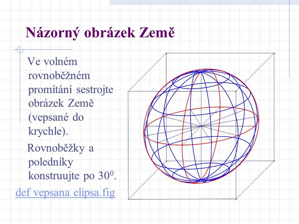 Názorný obrázek Země Ve volném rovnoběžném promítání sestrojte obrázek Země (vepsané do krychle). Rovnoběžky a poledníky konstruujte po 30 0. def veps