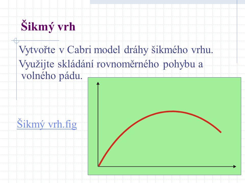 Šikmý vrh Šikmý vrh.fig Vytvořte v Cabri model dráhy šikmého vrhu. Využijte skládání rovnoměrného pohybu a volného pádu.