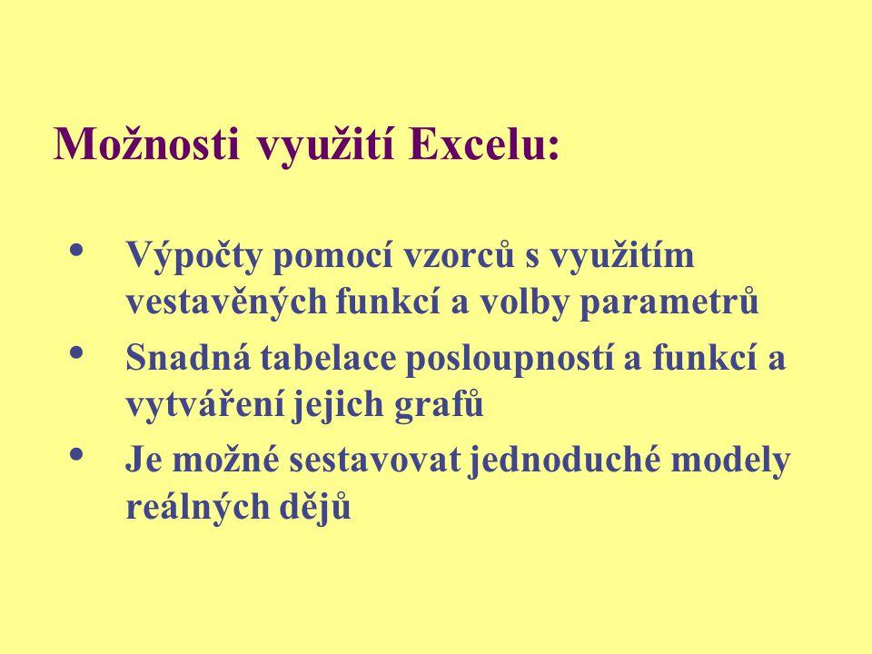 Možnosti využití Excelu: Výpočty pomocí vzorců s využitím vestavěných funkcí a volby parametrů Snadná tabelace posloupností a funkcí a vytváření jejic