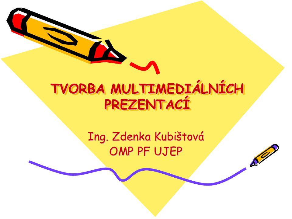 TVORBA MULTIMEDIÁLNÍCH PREZENTACÍ Zásady vystupování při prezentaci Prezentace pomocí programu Power Point Tvorba multimediální elektronické publikace pomocí programu Zoner Context, ProAuthor Práce s interaktivní tabulí