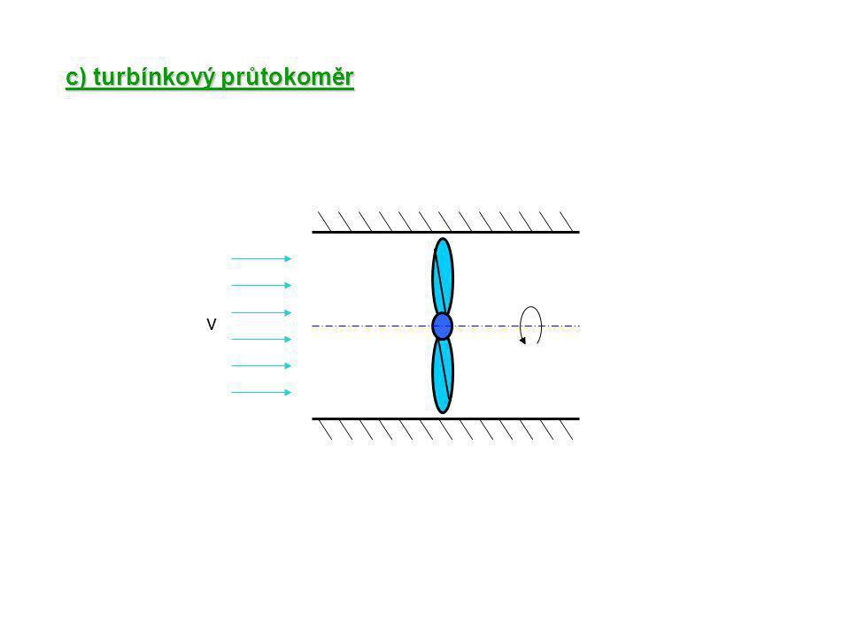 c) turbínkový průtokoměr v