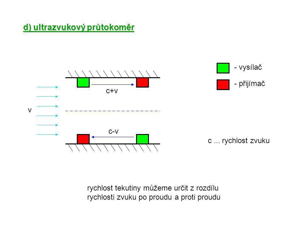 d) ultrazvukový průtokoměr v c+v c-v - přijímač - vysílač c... rychlost zvuku rychlost tekutiny můžeme určit z rozdílu rychlosti zvuku po proudu a pro