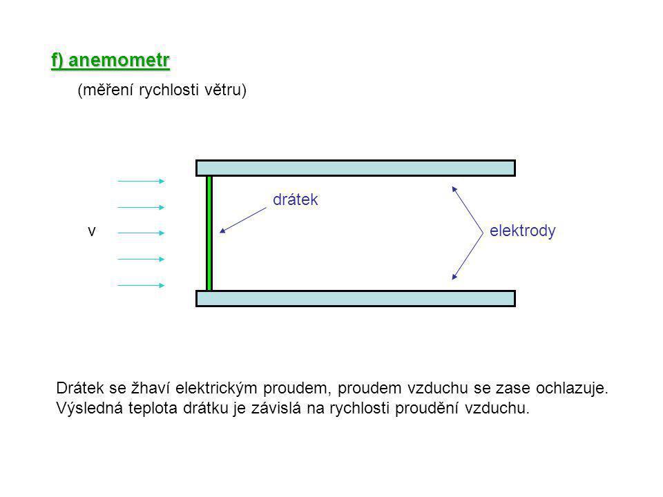f) anemometr velektrody drátek Drátek se žhaví elektrickým proudem, proudem vzduchu se zase ochlazuje. Výsledná teplota drátku je závislá na rychlosti