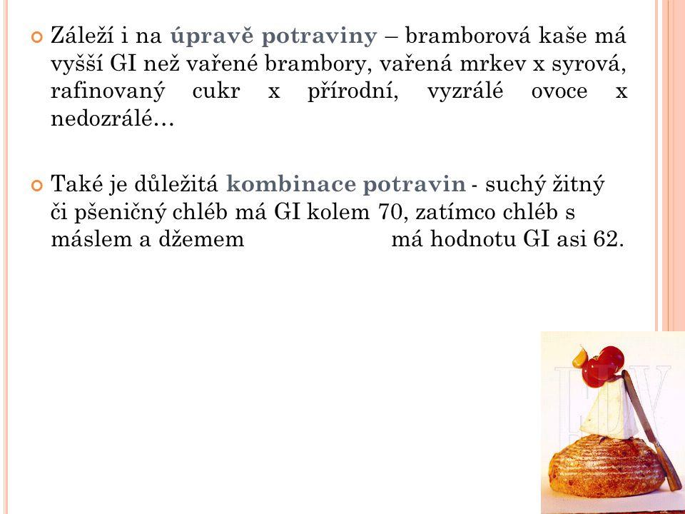 Záleží i na úpravě potraviny – bramborová kaše má vyšší GI než vařené brambory, vařená mrkev x syrová, rafinovaný cukr x přírodní, vyzrálé ovoce x ned