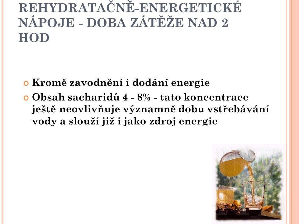 REHYDRATAČNĚ-ENERGETICKÉ NÁPOJE - DOBA ZÁTĚŽE NAD 2 HOD Kromě zavodnění i dodání energie Obsah sacharidů 4 - 8% - tato koncentrace ještě neovlivňuje v