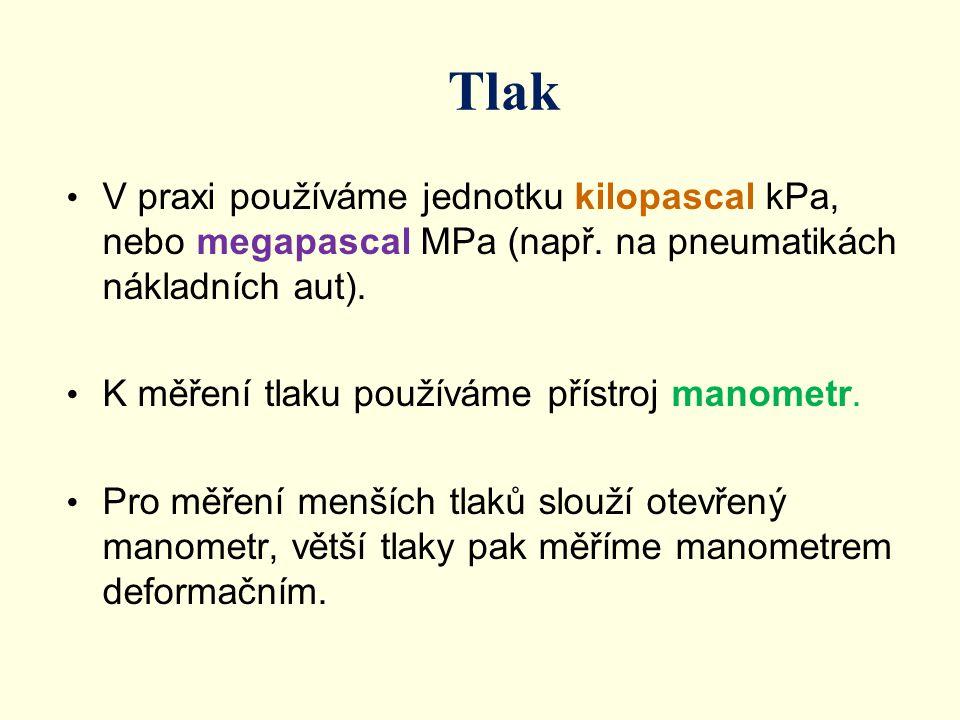 V praxi používáme jednotku kilopascal kPa, nebo megapascal MPa (např. na pneumatikách nákladních aut). K měření tlaku používáme přístroj manometr. Pro