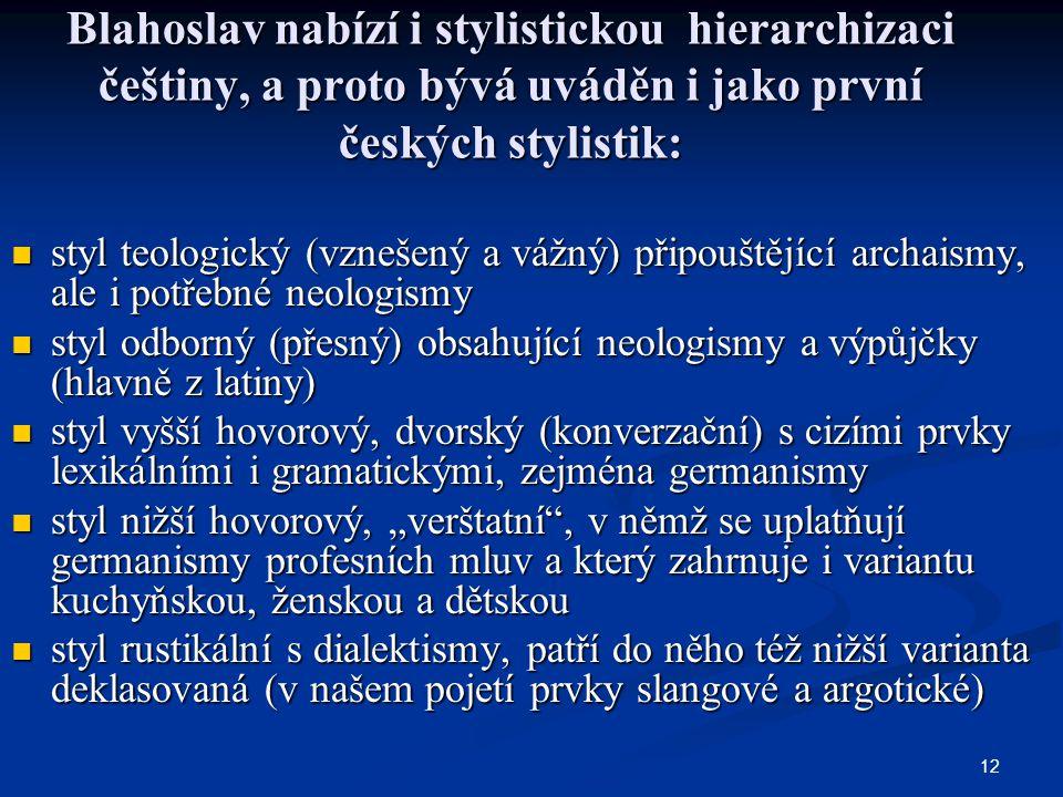 12 Blahoslav nabízí i stylistickou hierarchizaci češtiny, a proto bývá uváděn i jako první českých stylistik: styl teologický (vznešený a vážný) připo