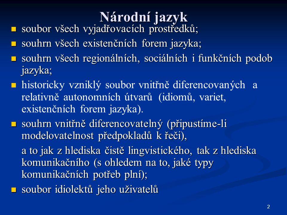 2 Národní jazyk soubor všech vyjadřovacích prostředků; soubor všech vyjadřovacích prostředků; souhrn všech existenčních forem jazyka; souhrn všech exi