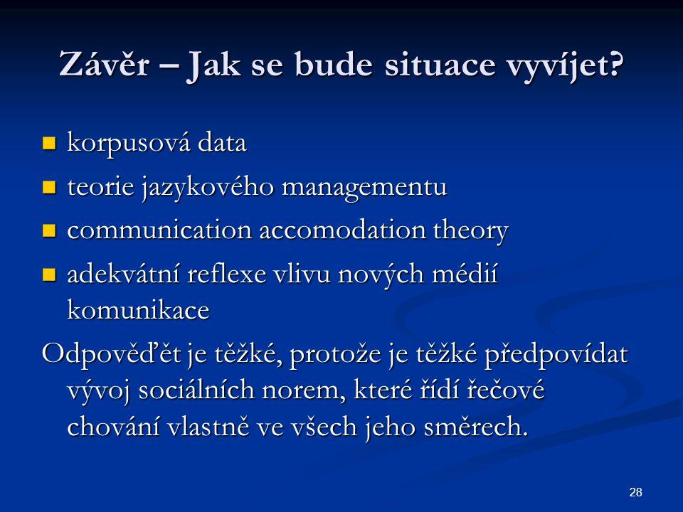28 Závěr – Jak se bude situace vyvíjet? korpusová data korpusová data teorie jazykového managementu teorie jazykového managementu communication accomo