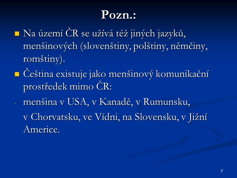 7 Pozn.: Na území ČR se užívá též jiných jazyků, menšinových (slovenštiny, polštiny, němčiny, romštiny). Na území ČR se užívá též jiných jazyků, menši