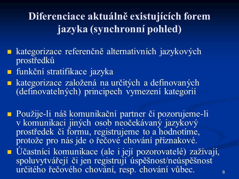 8 Diferenciace aktuálně existujících forem jazyka (synchronní pohled) kategorizace referenčně alternativních jazykových prostředků funkční stratifikac