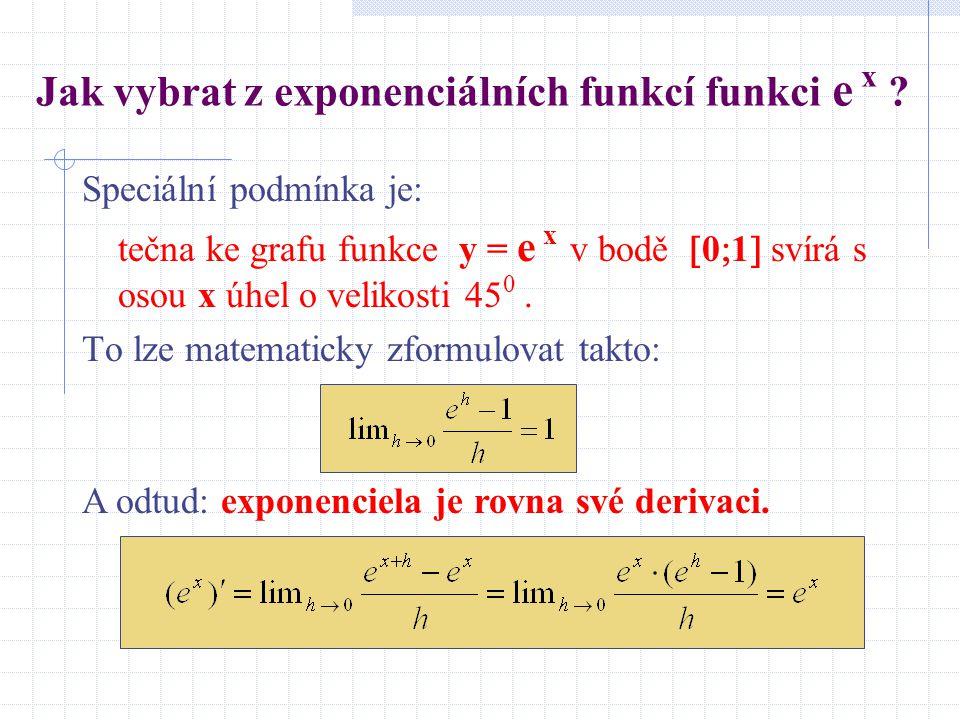 Jak vybrat z exponenciálních funkcí funkci e x ? Speciální podmínka je: tečna ke grafu funkce y = e x v bodě  0  1  svírá s osou x úhel o velikosti