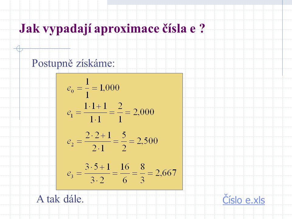 Jak vypadají aproximace čísla e ? Postupně získáme: Číslo e.xls A tak dále.