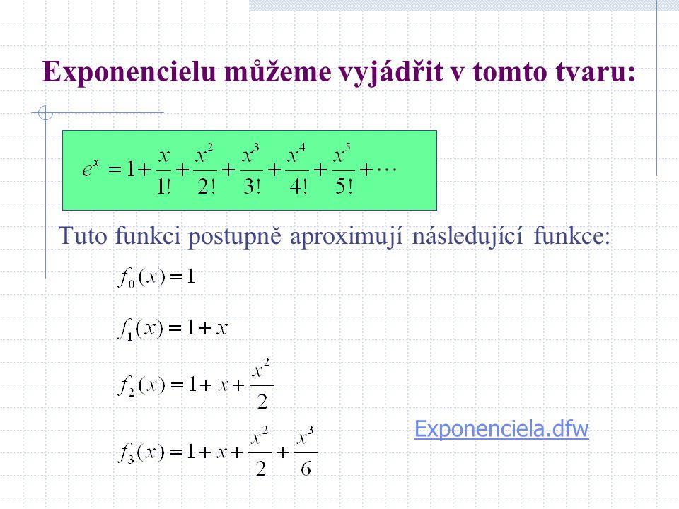 Exponencielu můžeme vyjádřit v tomto tvaru: Tuto funkci postupně aproximují následující funkce: Exponenciela.dfw