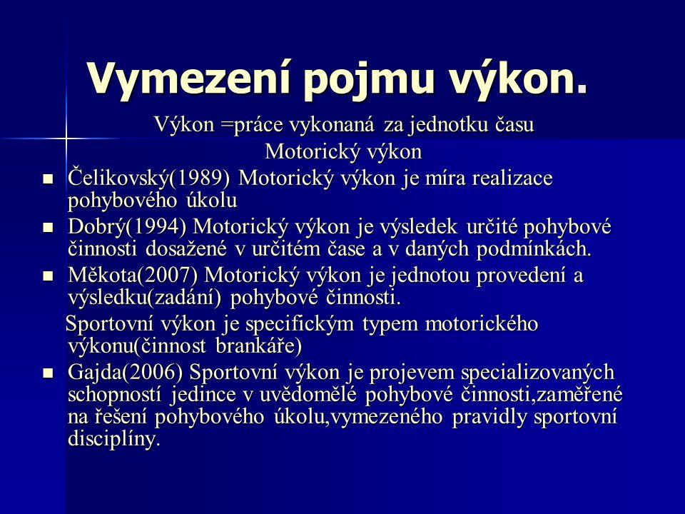 Vymezení pojmu výkon. Výkon =práce vykonaná za jednotku času Motorický výkon Čelikovský(1989) Motorický výkon je míra realizace pohybového úkolu Čelik