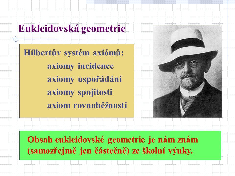 Hilbertův systém axiómů: axiomy incidence axiomy uspořádání axiomy spojitosti axiom rovnoběžnosti Obsah eukleidovské geometrie je nám znám (samozřejmě