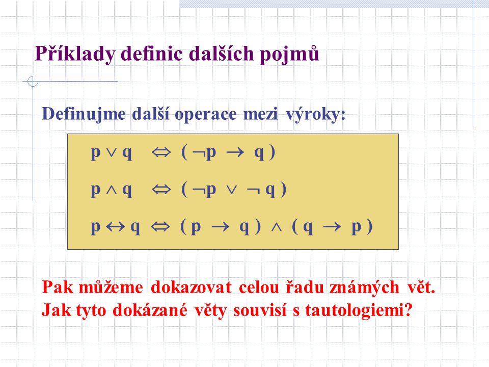 Definujme další operace mezi výroky: p  q  (  p  q ) p  q  (  p   q ) p  q  ( p  q )  ( q  p ) Pak můžeme dokazovat celou řadu známých v