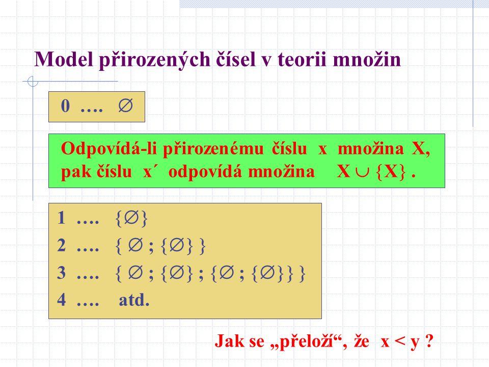 0 ….  Odpovídá-li přirozenému číslu x množina X, pak číslu x´ odpovídá množina X   X . Model přirozených čísel v teorii množin 1 ….  2 ….   ;