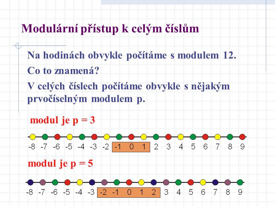 Modulární přístup k celým číslům Na hodinách obvykle počítáme s modulem 12. Co to znamená? V celých číslech počítáme obvykle s nějakým prvočíselným mo