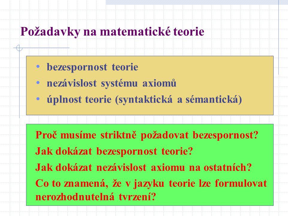 bezespornost teorie nezávislost systému axiomů úplnost teorie (syntaktická a sémantická) Požadavky na matematické teorie Proč musíme striktně požadova