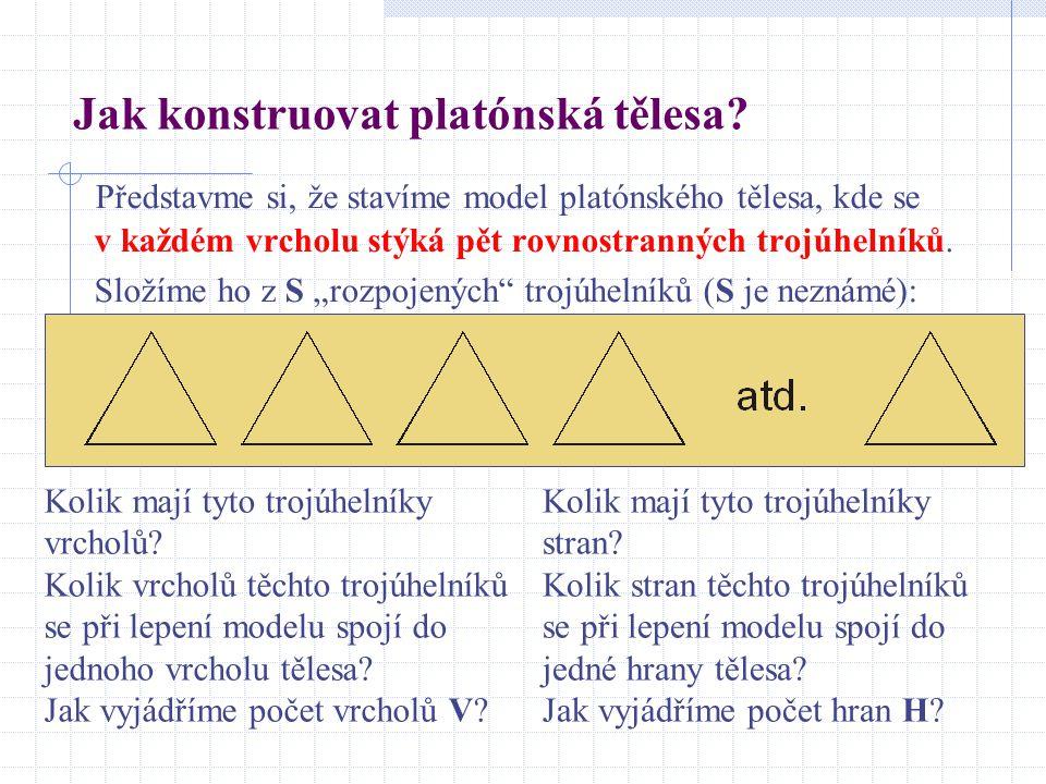 """Představme si, že stavíme model platónského tělesa, kde se v každém vrcholu stýká pět rovnostranných trojúhelníků. Složíme ho z S """"rozpojených"""" trojúh"""