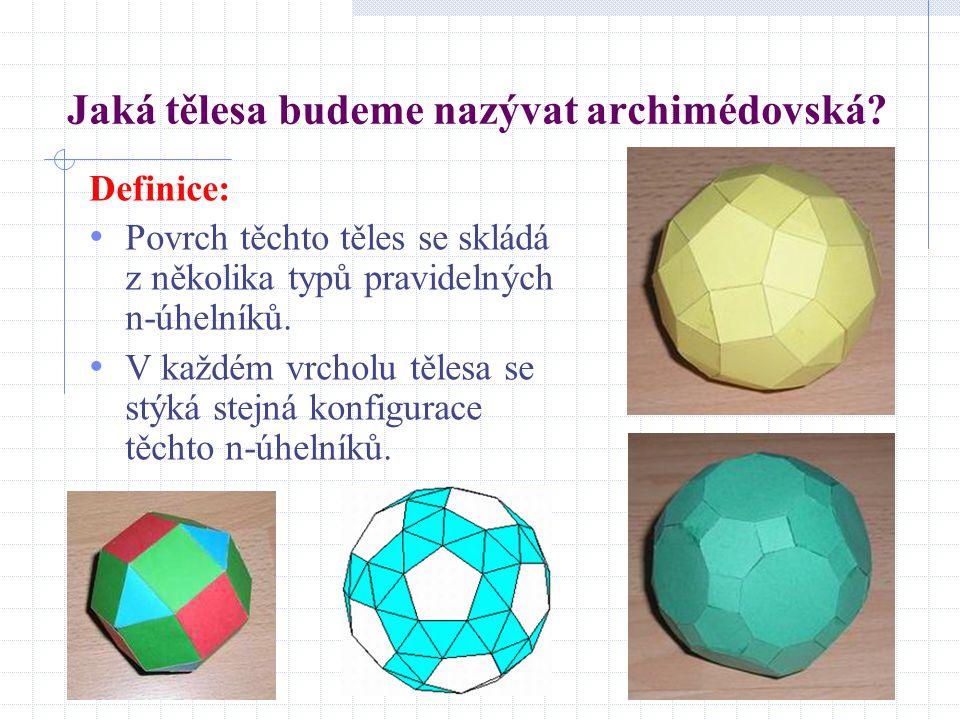 Jaká tělesa budeme nazývat archimédovská? Definice: Povrch těchto těles se skládá z několika typů pravidelných n-úhelníků. V každém vrcholu tělesa se
