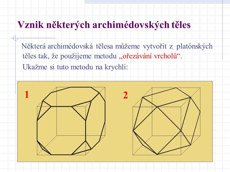 """Vznik některých archimédovských těles Některá archimédovská tělesa můžeme vytvořit z platónských těles tak, že použijeme metodu """"ořezávání vrcholů"""". U"""