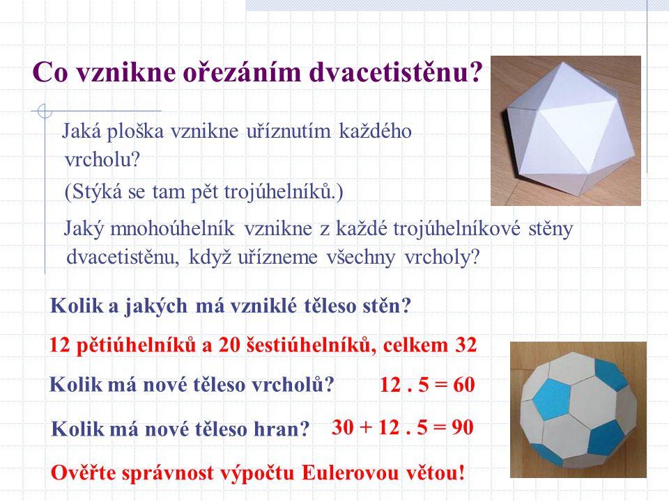 Co vznikne ořezáním dvacetistěnu? Jaká ploška vznikne uříznutím každého vrcholu? (Stýká se tam pět trojúhelníků.) Jaký mnohoúhelník vznikne z každé tr