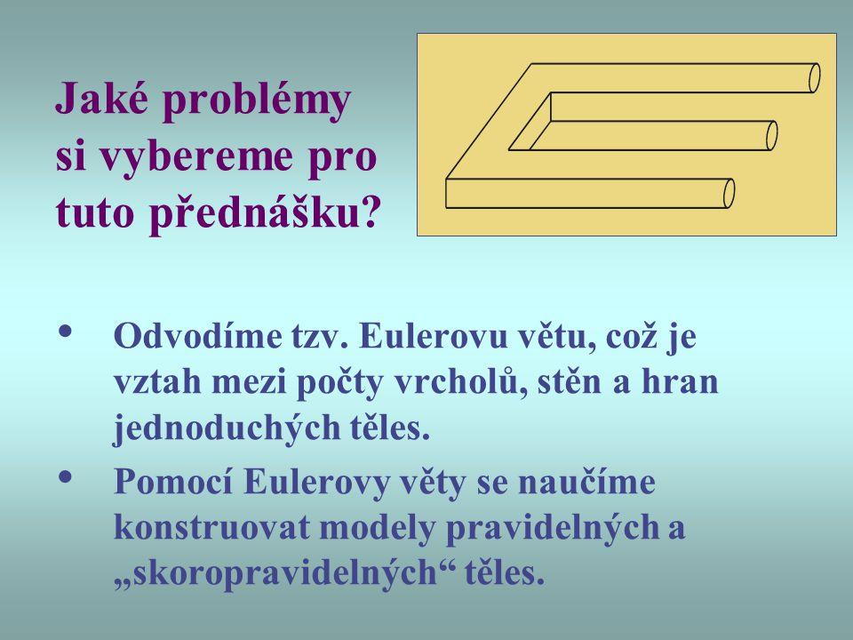 Jaké problémy si vybereme pro tuto přednášku? Odvodíme tzv. Eulerovu větu, což je vztah mezi počty vrcholů, stěn a hran jednoduchých těles. Pomocí Eul