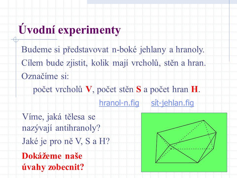 Úvodní experimenty Budeme si představovat n-boké jehlany a hranoly. Cílem bude zjistit, kolik mají vrcholů, stěn a hran. Označíme si: počet vrcholů V,