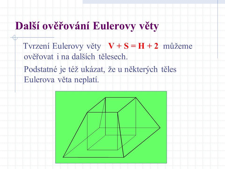 Další ověřování Eulerovy věty Tvrzení Eulerovy věty V + S = H + 2 můžeme ověřovat i na dalších tělesech. Podstatné je též ukázat, že u některých těles
