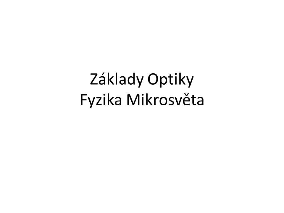 Základy Optiky Fyzika Mikrosvěta