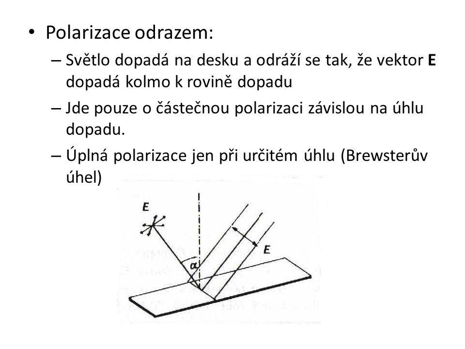 Polarizace odrazem: – Světlo dopadá na desku a odráží se tak, že vektor E dopadá kolmo k rovině dopadu – Jde pouze o částečnou polarizaci závislou na úhlu dopadu.