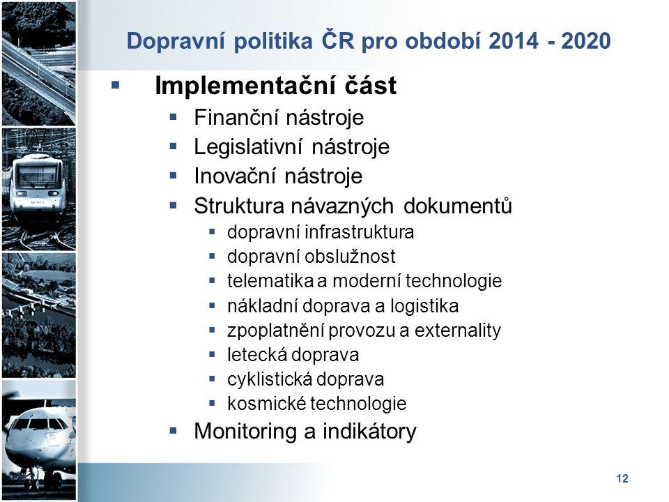 12 Dopravní politika ČR pro období 2014 - 2020  Implementační část  Finanční nástroje  Legislativní nástroje  Inovační nástroje  Struktura návazn