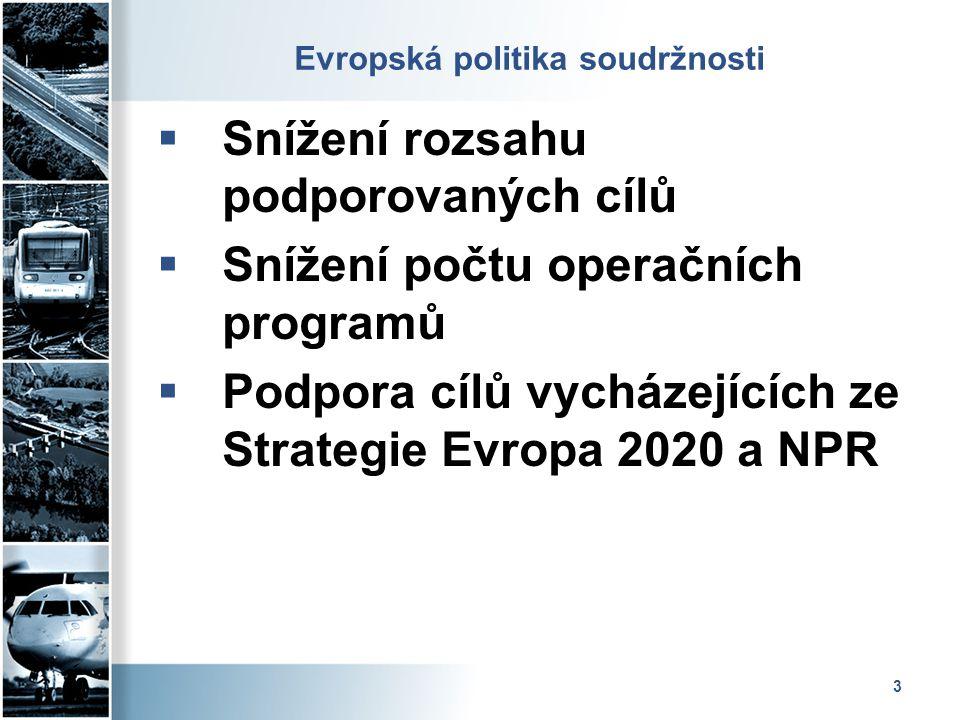 3 Evropská politika soudržnosti  Snížení rozsahu podporovaných cílů  Snížení počtu operačních programů  Podpora cílů vycházejících ze Strategie Evr