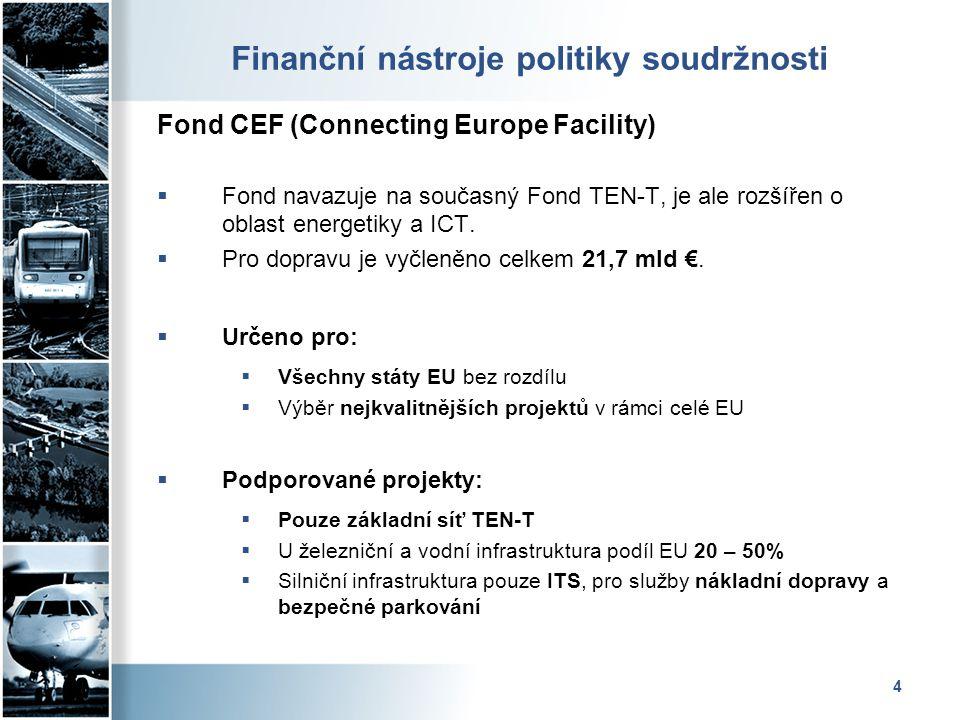 4 Finanční nástroje politiky soudržnosti Fond CEF (Connecting Europe Facility)  Fond navazuje na současný Fond TEN-T, je ale rozšířen o oblast energe