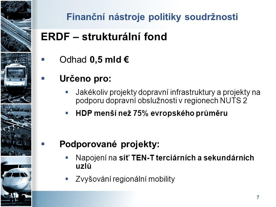 7 Finanční nástroje politiky soudržnosti ERDF – strukturální fond  Odhad 0,5 mld €  Určeno pro:  Jakékoliv projekty dopravní infrastruktury a proje
