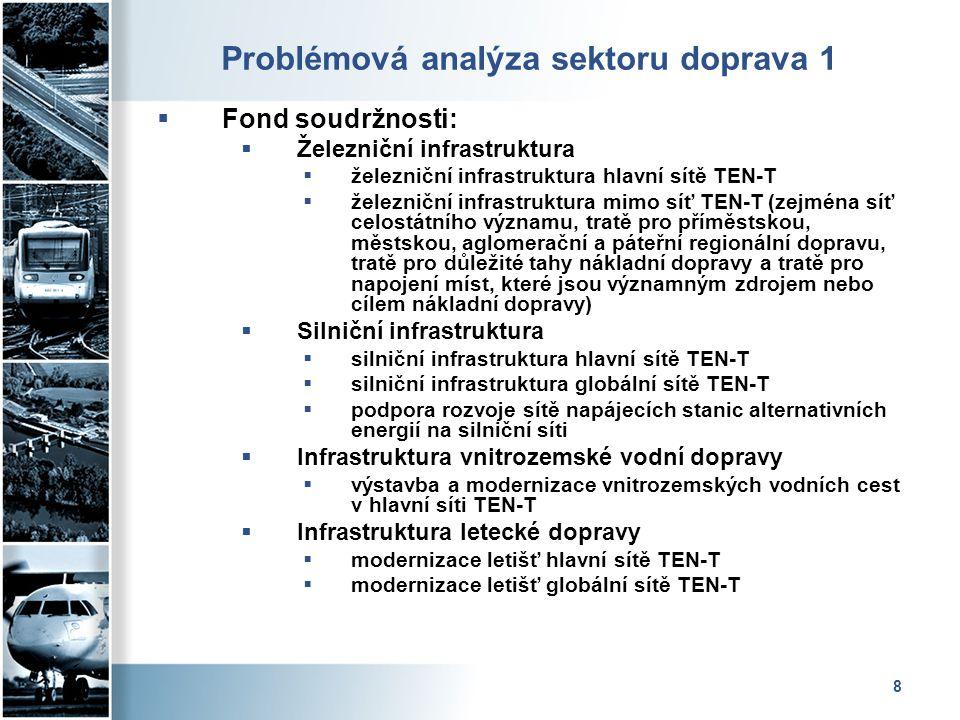 8 Problémová analýza sektoru doprava 1  Fond soudržnosti:  Železniční infrastruktura  železniční infrastruktura hlavní sítě TEN-T  železniční infr