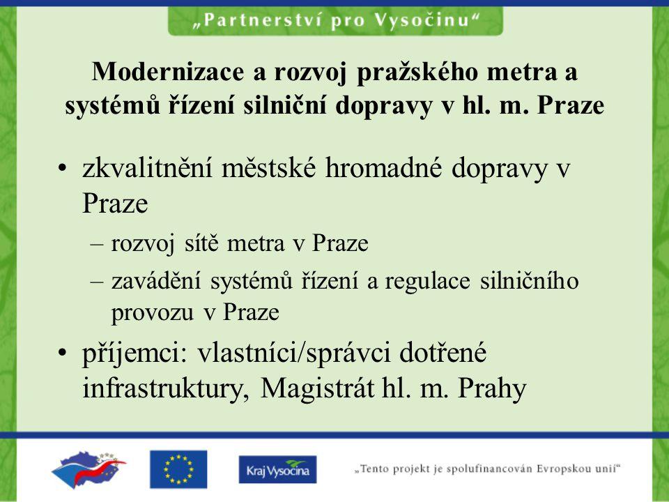 Modernizace a rozvoj pražského metra a systémů řízení silniční dopravy v hl.