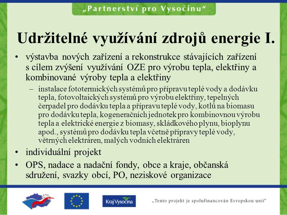 Udržitelné využívání zdrojů energie I.