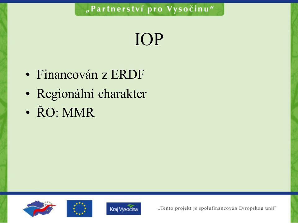 IOP Financován z ERDF Regionální charakter ŘO: MMR