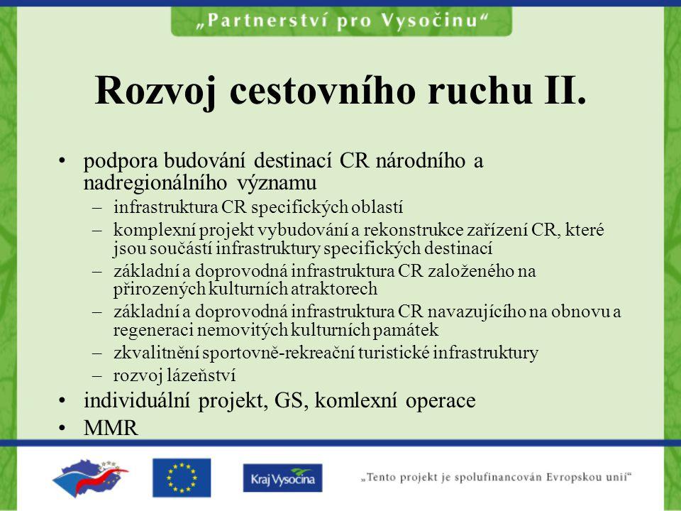 Rozvoj cestovního ruchu II.