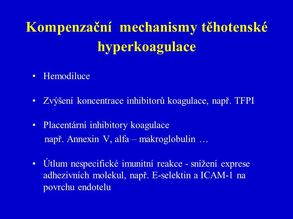 Kompenzační mechanismy těhotenské hyperkoagulace Hemodiluce Zvýšení koncentrace inhibitorů koagulace, např.