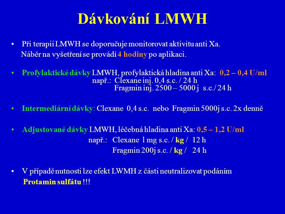 Dávkování LMWH Při terapii LMWH se doporučuje monitorovat aktivitu anti Xa.